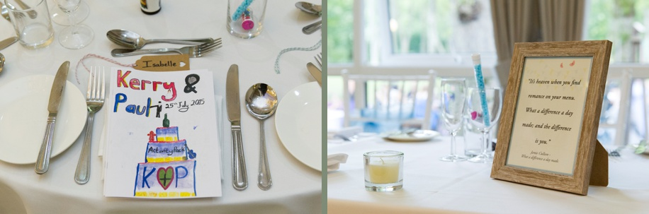 Wedding breakfast at Marwell Hotel in Hampshire