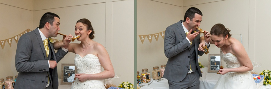 fun wedding documentary photographs at Marwell Hotel in Winchester - different cake cutting