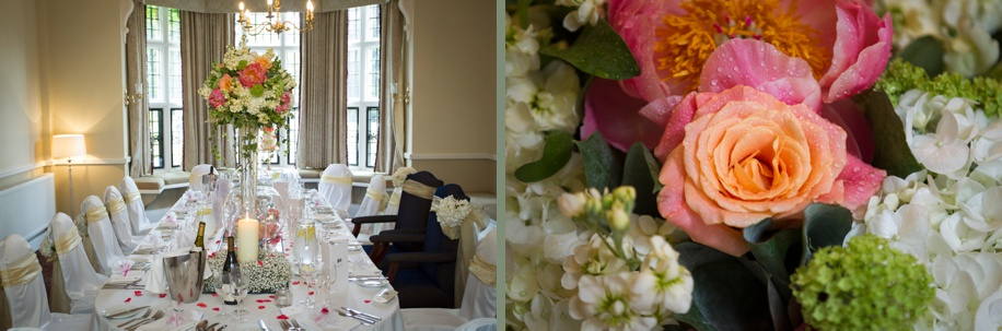 Gorgeous coral and gold colour scheme in The Keepers room on a wedding day at Rhinefield House