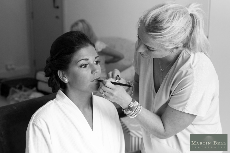 Bride getting ready at Northcote House on her wedding day