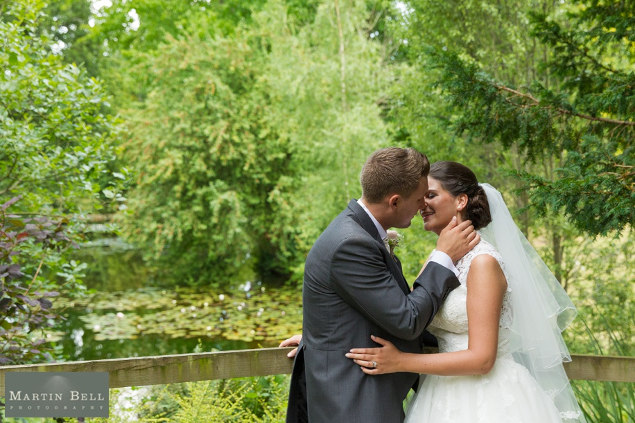 Bride and Groom in the Grounds at Northcote House on their wedding day