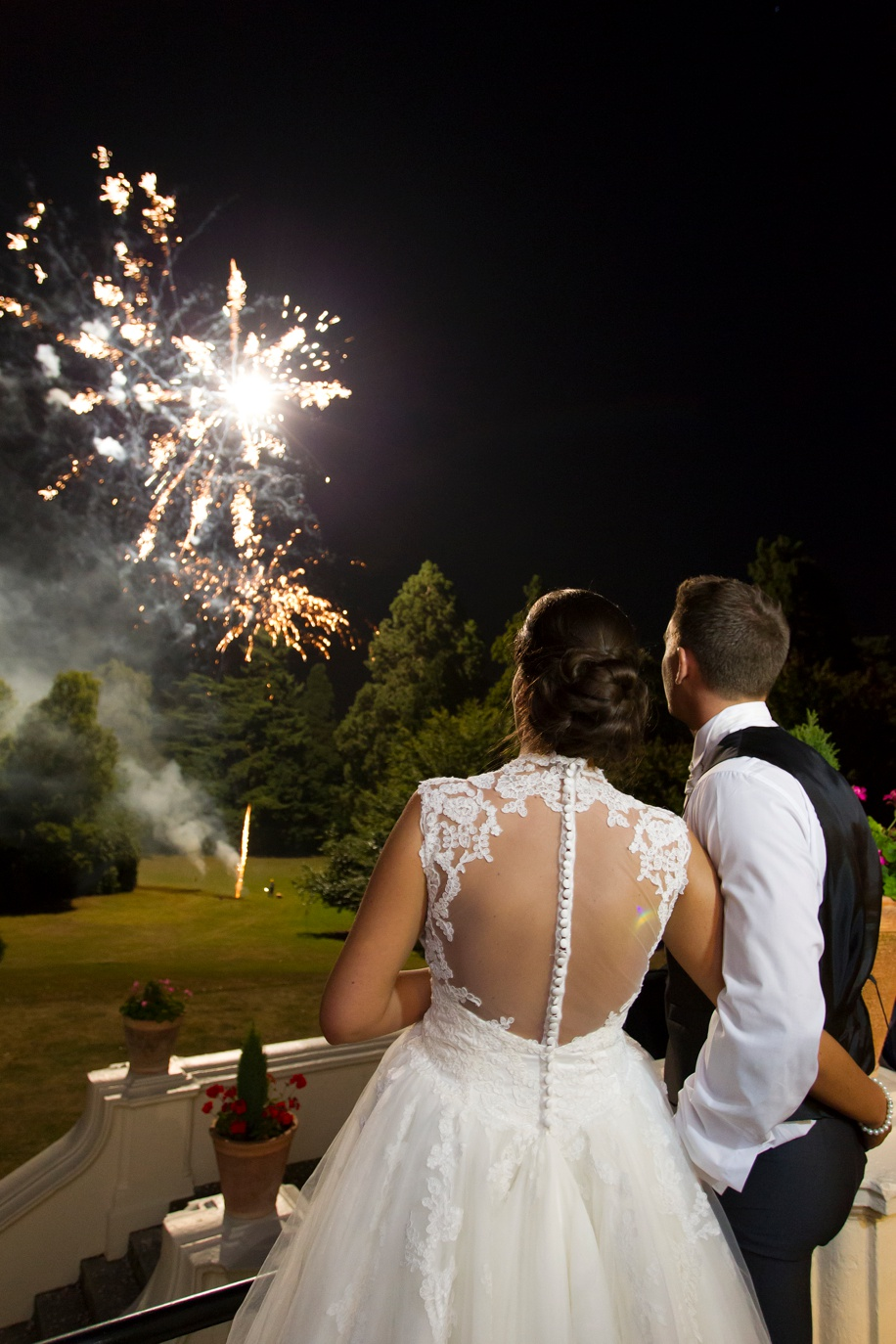 Fireworks display on a wedding day at Northcote House