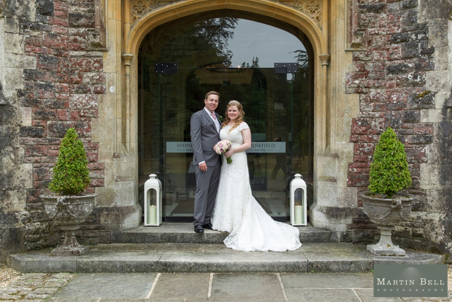Bride and Groom on their wedding day at Rhinefield House