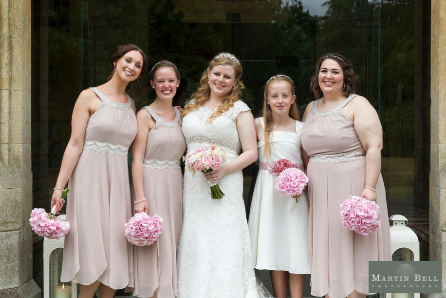 Bride and her Bridesmaids at a Rhinefield House wedding - Dusky pink colour scheme