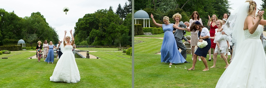 Rhinefield House wedding photography - throwing the bouquet