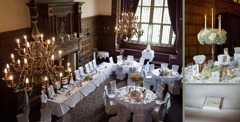 Rhinefield House wedding photography - Grand Hall wedding breakfast ideas