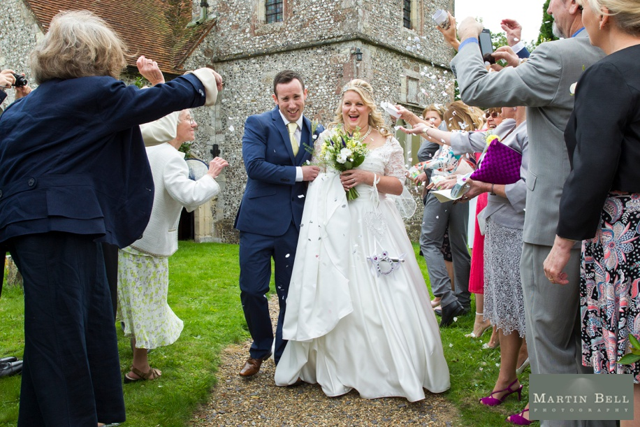 Confetti photograph at St Andrews Church in Owslebury, Hampshire