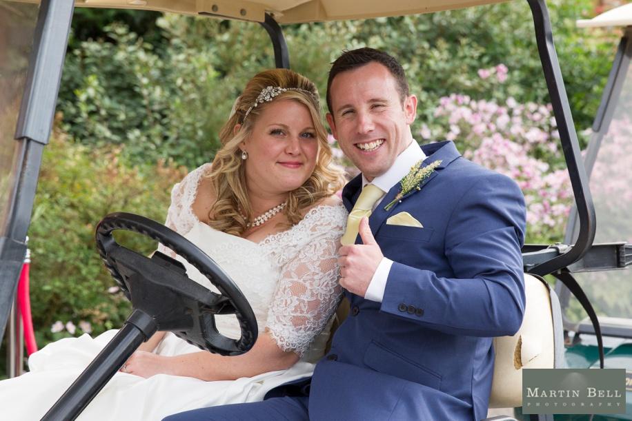 East Horton Golf Club wedding - Bride and Groom in a golf buggy