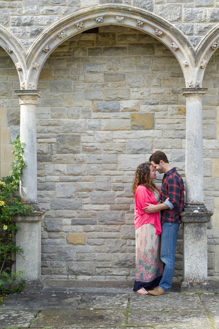 Loved up couple during an engagement shoot at Rhienfield House