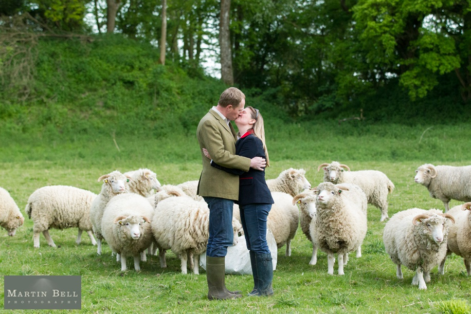 Fun Spring engagement shoot ideas in amongst Farmland in Winchester