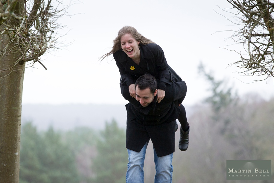 Fun Rhinefield House engagement photo shoot