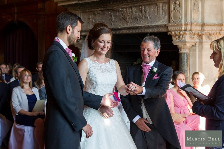 Wedding ceremony in the Grand Hall at a Rhinefield House wedding