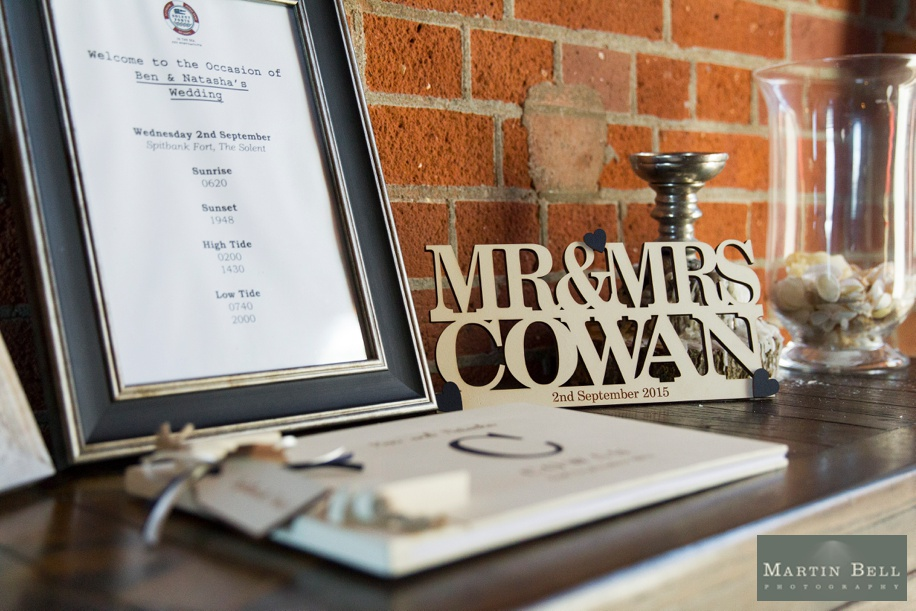 Details for a wedding at Spitbank Fort - cool personalised signing book