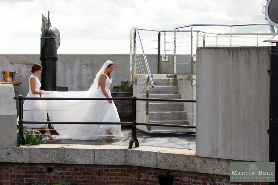 Documentary wedding photography at Spitbank Fort - Bride walking to ceremony