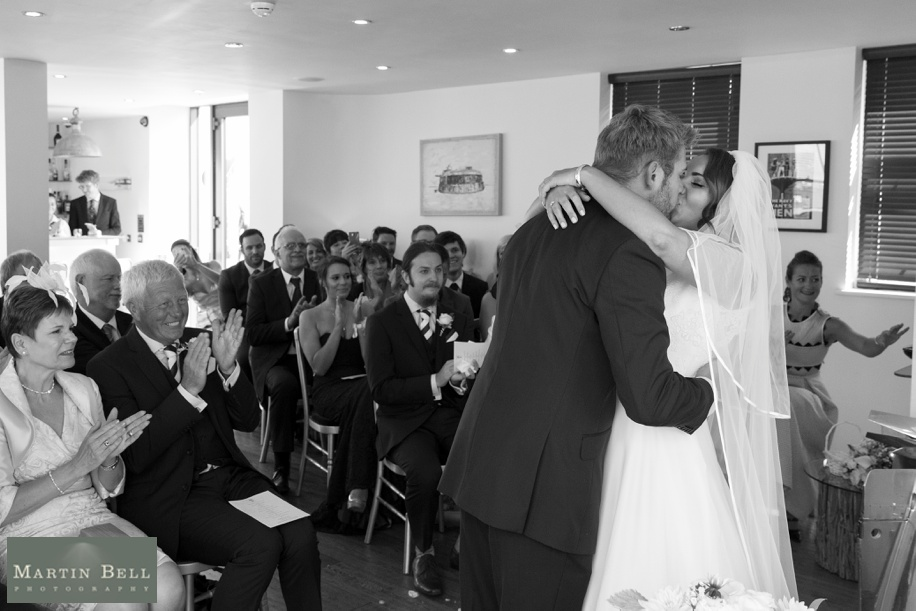 Documentary wedding photography at Spitbank Fort - Bride and Groom first kiss