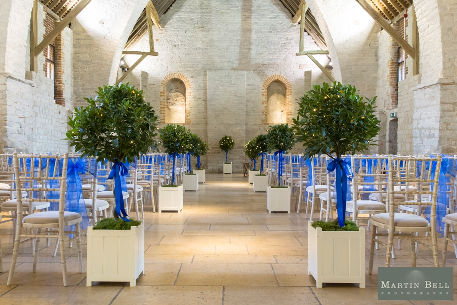 The Tithe Barn wedding ideas for a royal blue colour scheme