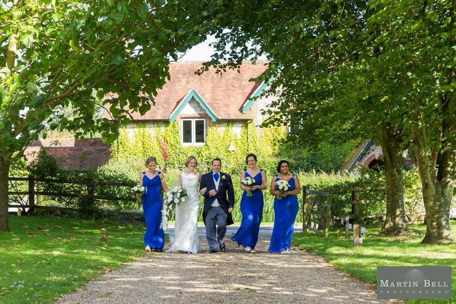Bride arriving for her Tithe Barn wedding