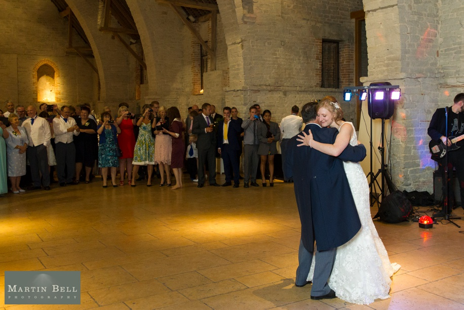 Father of the Bride dances with the Bride at Tithe Barn