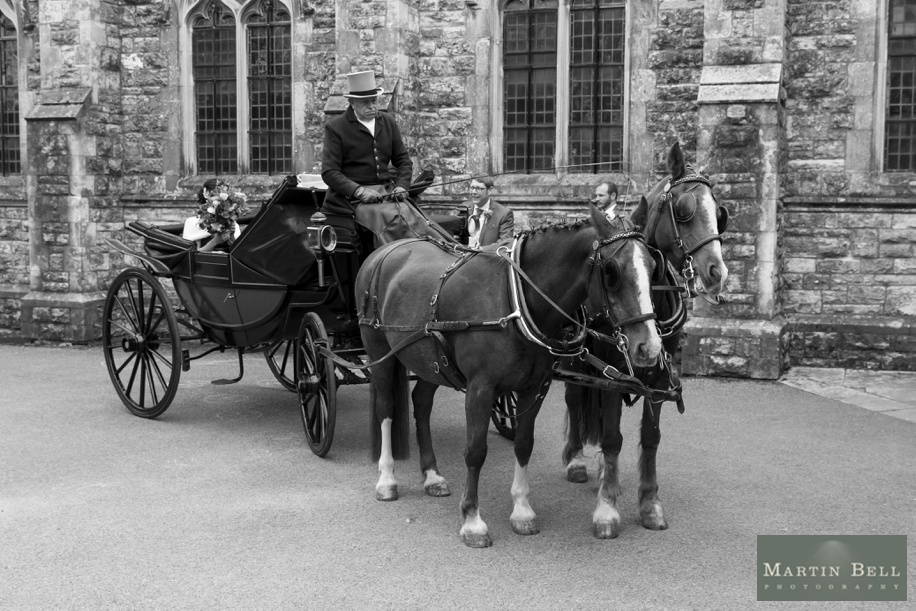 Documentary Hampshire wedding photography - St Thomas All Saints Church, Lyminton wedding - Old fashioned Horse and Carriage