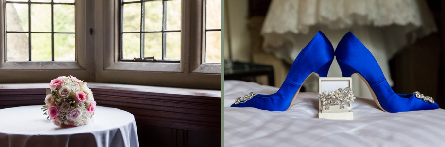 Rhinefield House Munroe Suite on a wedding day - stunning blue bridal shoes