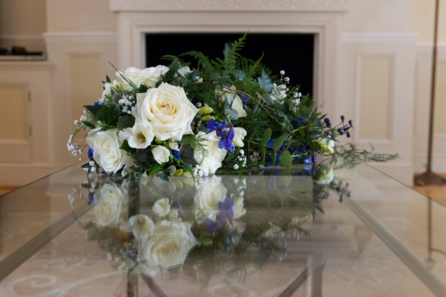 Ivory and royal blue wedding bouquet ideas