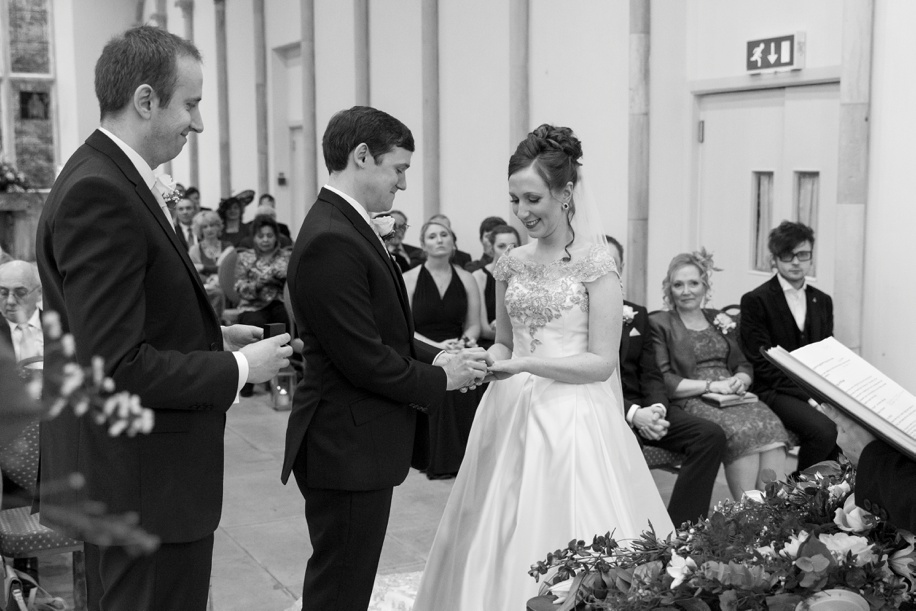 Happy Bride and Groom during their Highcliffe Castle wedding ceremony