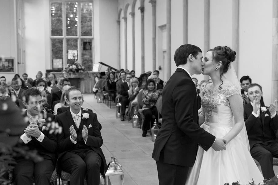 The first kiss - Highcliffe Castle weddings