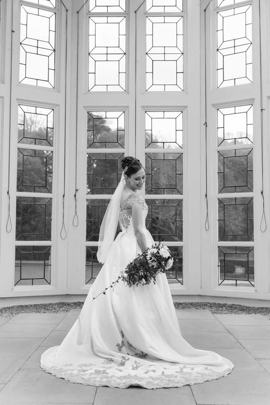 Highcliffe Castle weddings - Stunning Bridal portrait in the Winter Garden Suite