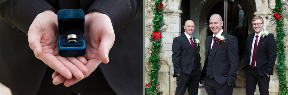 Groomsmen photographs outside St Peters Church in Bishops Waltham