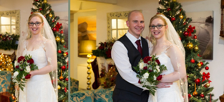 Bride and Groom at their Potters Heron winter wedding - Bride and Groom photographs with a Christmas tree