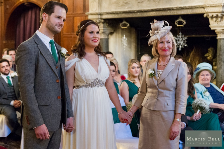 Rhine field House wedding photography at Christmas and winter - Grand Hall ceremony