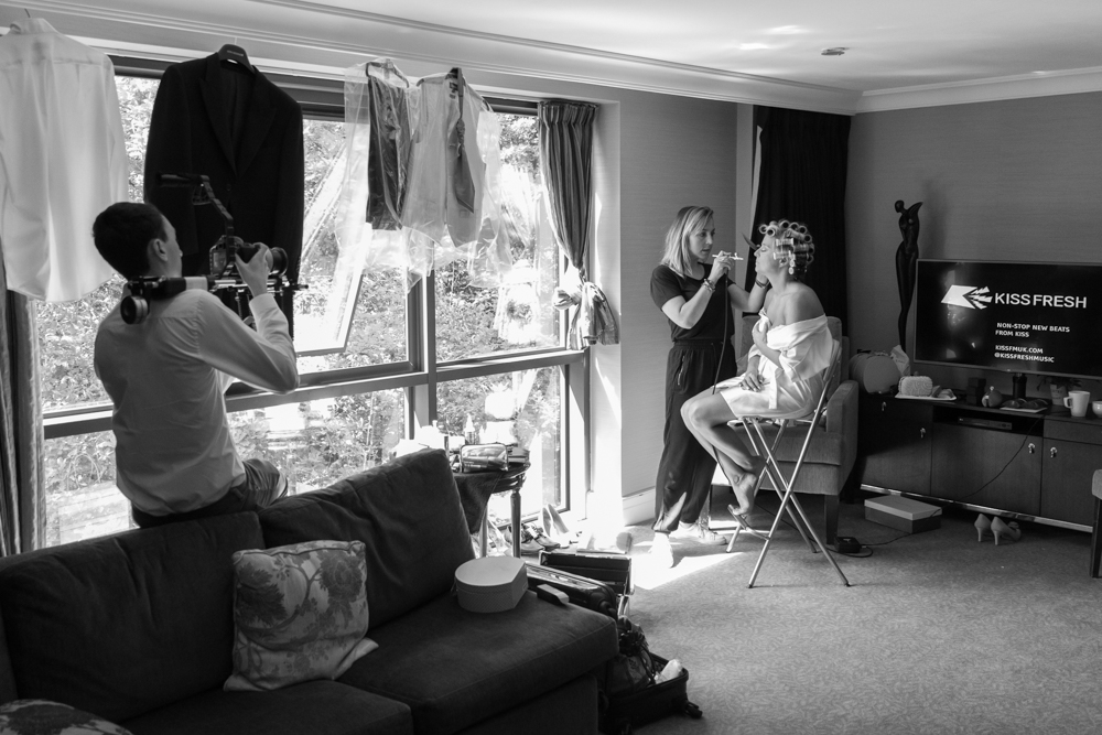 Bridal preparations in the Herons Suite at Rhinefield House