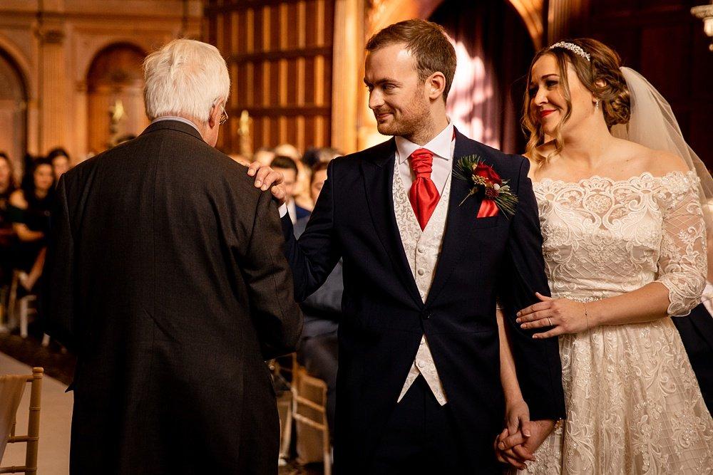Rhinefield House Christmas wedding photography by award winning Hampshire wedding photographer Martin Bell