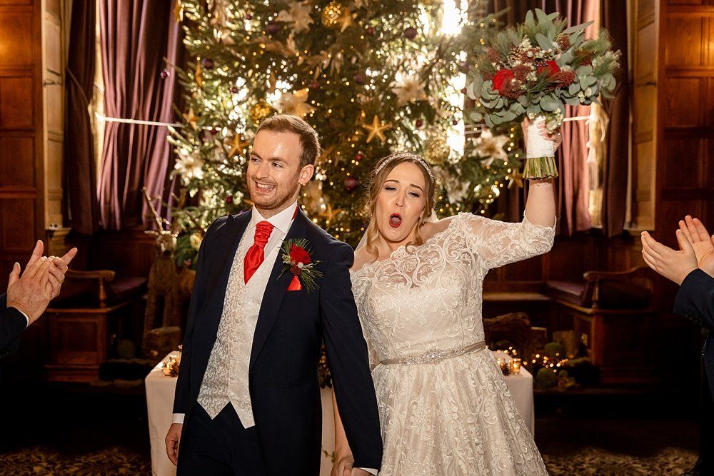 Rhinefield House Christmas wedding photography by award winning Hampshire wedding photographer Martin Bell